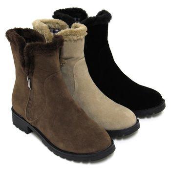 【Pretty】俏皮滾邊絨毛雙拉鍊低跟短靴-卡其色、駱駝色、黑色