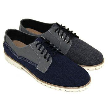 【GREEN PHOENIX】雙彩仿麂皮拼接綁帶平底休閒鞋(男鞋)-藍色、黑色