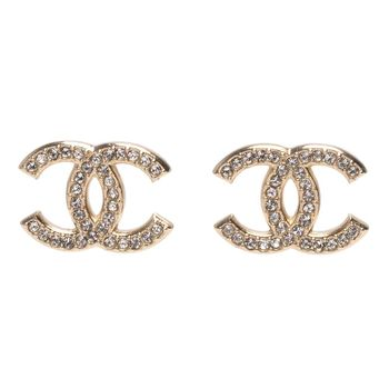 CHANEL 香奈兒經典大雙C LOGO水鑽鑲嵌穿式耳環(金)