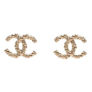 CHANEL 香奈兒經典雙C LOGO圓珠綴麻花造型穿式耳環(金)