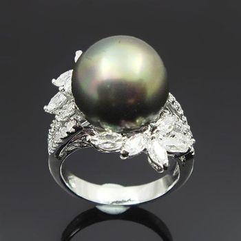 【蕾帝兒珠寶】迷人風采黑色貝殼珍珠戒