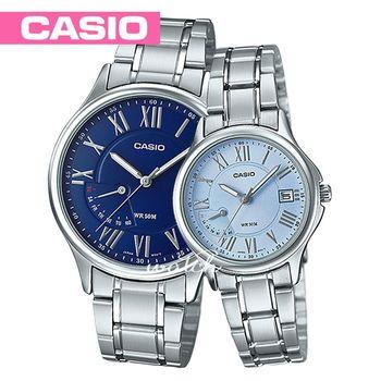 【CASIO 卡西歐 對錶系列】不鏽鋼錶帶_指針_浪漫情人對錶(MTP-E116D+LTP-E116D)