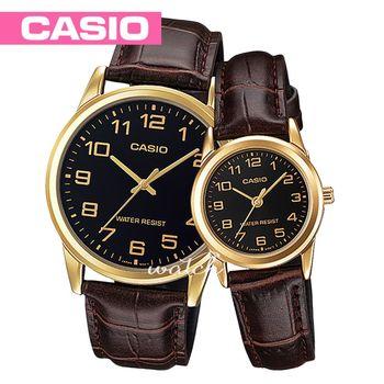 【CASIO 卡西歐 對錶系列】皮革錶帶_指針_復古情人對錶(MTP-V001GL+LTP-V001GL)