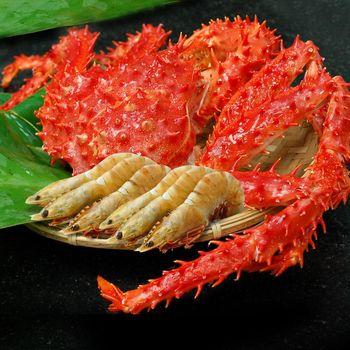 【築地一番鮮】帝王蟹(1-1.2kg/隻)+肥豬蝦(20-23隻/約600g/盒)