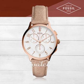 【FOSSIL】氣質首選_皮革錶帶_日期顯示_指針女錶(CH3016)