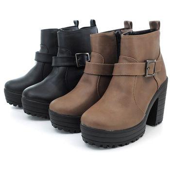 【 cher美鞋】MIT騎士風格皮扣粗跟短靴.♥RRQT-AG