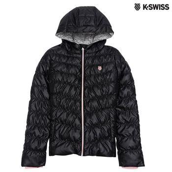 K-Swiss Down Jacket連帽羽絨外套-女-黑