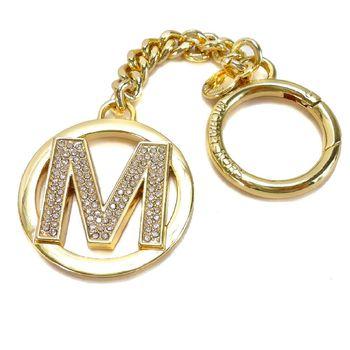 MICHAEL KORS 晶鑽LOGO字母鑰匙圈吊飾(M/金)