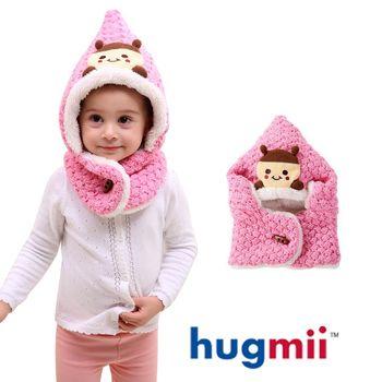 【hugmii】兒童尖頭造型保暖厚絨脖圍帽_粉色瓢蟲