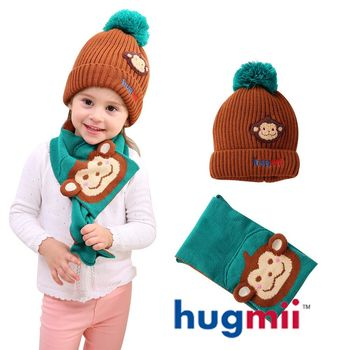 【hugmii】兒童單色毛球帽及圍巾組_猴子