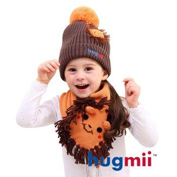 【hugmii】兒童單色毛球帽及圍巾組_獅子