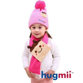【hugmii】兒童單色毛球帽及圍巾組_瓢蟲