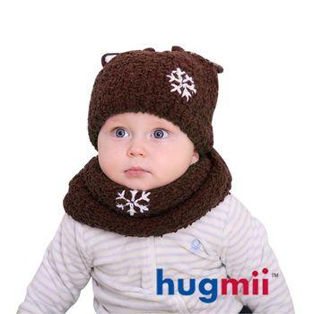 hugmii 兒童保暖麋鹿帽脖圍組_咖啡
