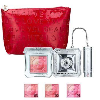 JILL STUART吉麗絲朵 霓光愛戀顏彩盤 4.2g(任選一色)+YSL BEAUTE LOVE化妝包(紅)(聖誕節限定組)