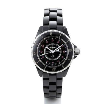 CHANEL J12系列腕錶12顆紅寶鑽陶瓷石英錶(黑)