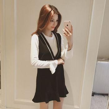 。DearBaby。韓系學院風條紋V領下擺波浪二件式背心裙-(預購)