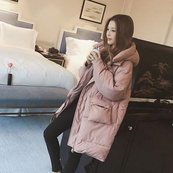 。DearBaby。韓系質感無肩線設計連帽舖棉長版外套(預購)