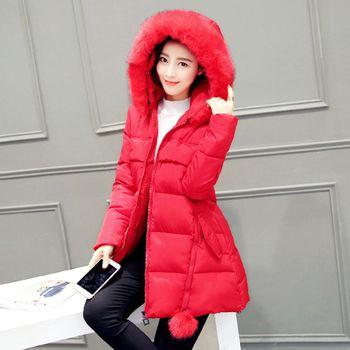 。DearBaby。韓系-貴婦風奢華毛領合身連帽長版外套(預購)