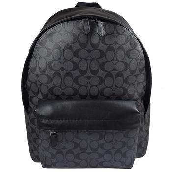 COACH 55398 經典LOGO防水PVC皮革拼接後背包.黑灰