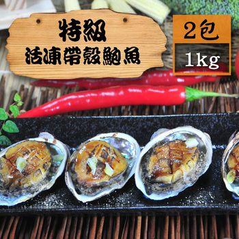 [漁季]特級活凍帶殼鮑魚2包(1000g±10%/包/18入)