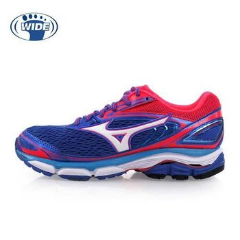【MIZUNO】WIDE WAVE INSPIRE 13 女慢跑鞋-美津濃 藍桃紅