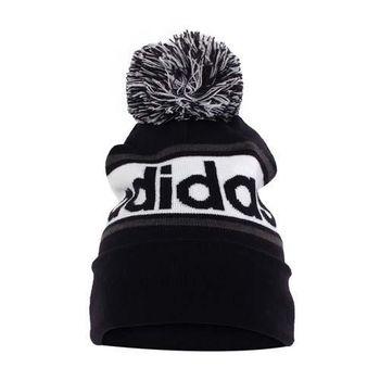 【ADIDAS】針織帽-毛帽 毛線帽 愛迪達 黑白灰