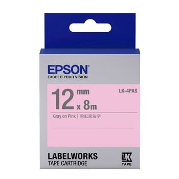 EPSON LK-4PAS  淡彩系列粉紅底灰字標籤帶(寬度12mm)
