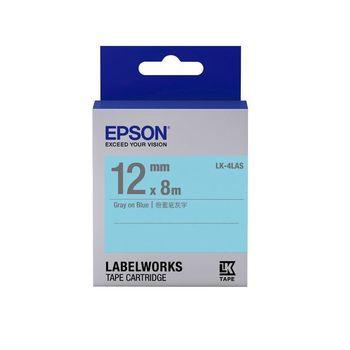 EPSON LK-4LAS  淡彩系列藍底灰字標籤帶(寬度12mm)