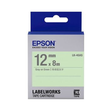 EPSON LK-4GAS  淡彩系列綠底灰字標籤帶(寬度12mm)