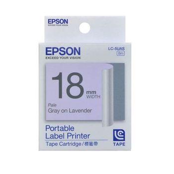 EPSON  LC-5UAS 淡彩系列淡紫底灰字標籤帶(寬度18mm)