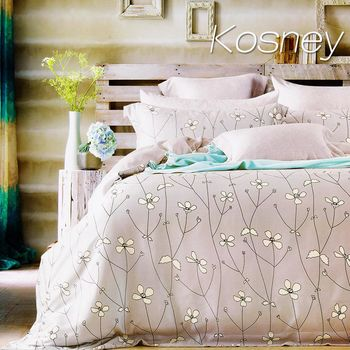 【KOSNEY】簡愛花開灰  雙人100%天絲TENCE六件式兩用被床罩組