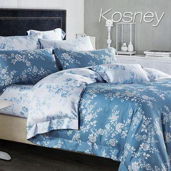 【KOSNEY】雙色羅曼史  雙人100%天絲TENCE六件式兩用被床罩組
