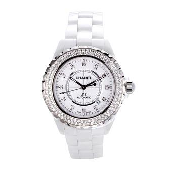 CHANEL J12系列腕錶陶瓷自動機械寶石滿鑽錶/42mm(白)