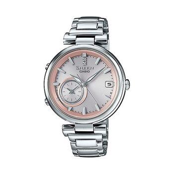 CASIO 卡西歐 SHEEN TIME RING 系列時尚機能雙錶盤世界時間全新藍牙錶款-蜜桃金X銀/34.9mm(SHB-100D-4A)