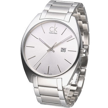 cK 魅力極簡風大錶徑男錶-銀白K2F21126