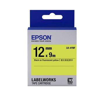EPSON LK-4YBF C53S654417 螢光系列黃底黑字標籤帶(寬度12mm)