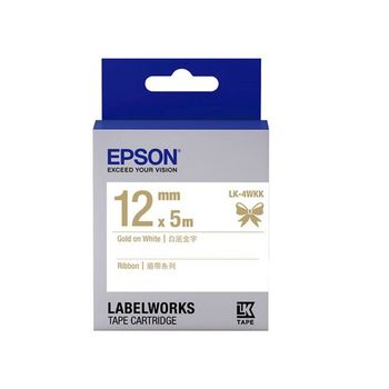 EPSON LK-4WKK C53S654440 緞帶系列白底金字標籤帶(寬度12mm)