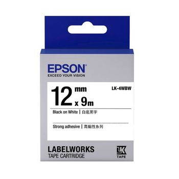EPSON LK-4WBW 高黏性系列白底黑字標籤帶(寬度12mm)