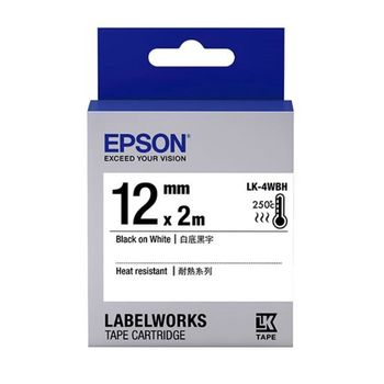 EPSON LK-4WBH C53S654427 高耐熱系列白底黑字標籤帶(寬度12mm)