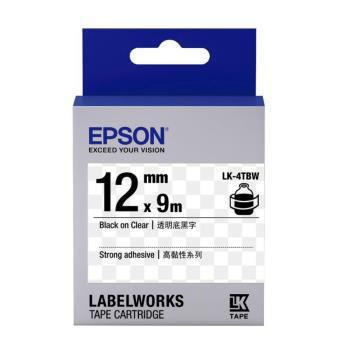 EPSON LK-4TBW  高黏性系列透明底黑字標籤帶(寬度12mm)