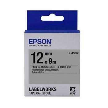 EPSON LK-4SBM C53S654421 金銀系列銀底黑字標籤帶(寬度12mm)