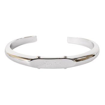 agnes b. 草寫SPORT b. LOGO造型釦男版手環(銀)
