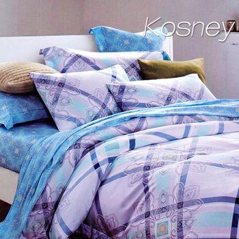 【KOSNEY】英倫之戀  雙人100%天絲TENCE八件式兩用被床罩組