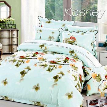 【KOSNEY】蔓資春色  雙人100%天絲TENCE八件式兩用被床罩組