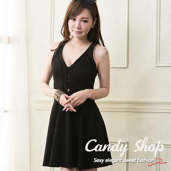 Candy 小鋪 性感深V後背交叉縷空A字洋裝(黑色)-0097883