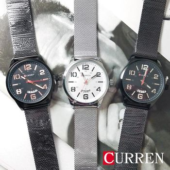 CURREN大錶面金屬質感日期鐵帶錶
