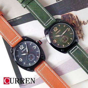 CURREN大錶面軍事風皮革錶
