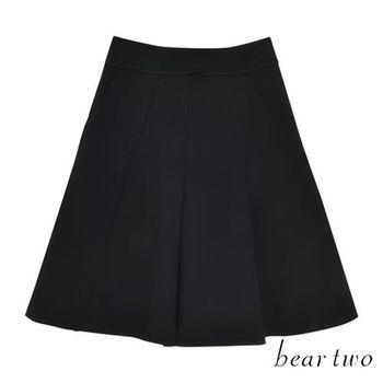 beartwo 素面後拉鍊設計打摺傘狀短裙 (共二色)