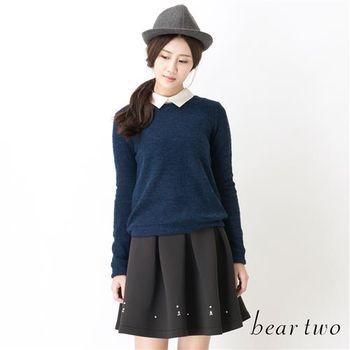 beartwo 混織羊毛素面針織上衣(白色)