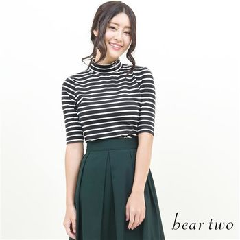 beartwo 領口英文繡字高領條紋上衣(共二色)